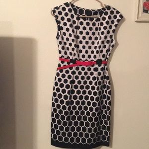 Dress Barn Black and White dress with red belt.